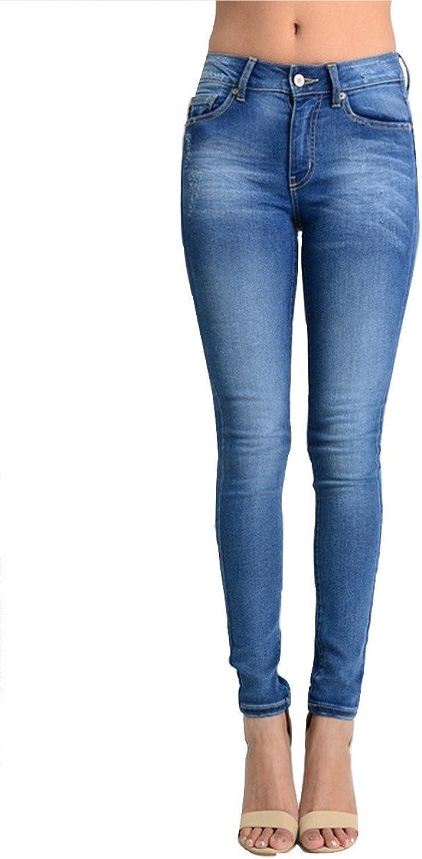 Kan Can Women's Light Distressed Skinny Jeans Medium Wash