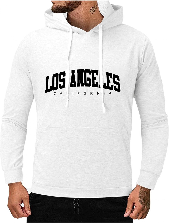 Mens Sweatshirts Hoodies Letter Print Slim Fit Long Sleeve Lightweight Pullover Hooded with Kanga Pocket Fashion Tops