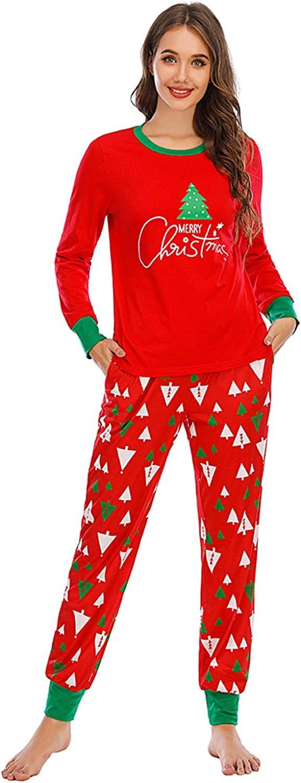 EISHOPEER Womens Pajama Sets Cotton Christmas Pajamas Set Long Sleeve Top and Pants Sleepwear Soft Pj Sets
