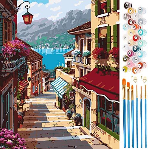 Vintoney Pintura por Números para Adultos - DIY Conjunto Completo de Pinturas Surtidas Pintura al óleo Kit y Accesorios para cepillos - 16 * 20 Pulgadas Sin Marco (Paisaje)