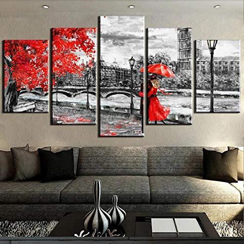 5 Piezas Cuadro sobre Lienzo De Fotos Torre del reloj de Londres en blanco y negro con árbol rojo y personas Lienzo Impresión Cuadros Decoracion Salon Cuadros para Dormitorios Modernos Mural Pared