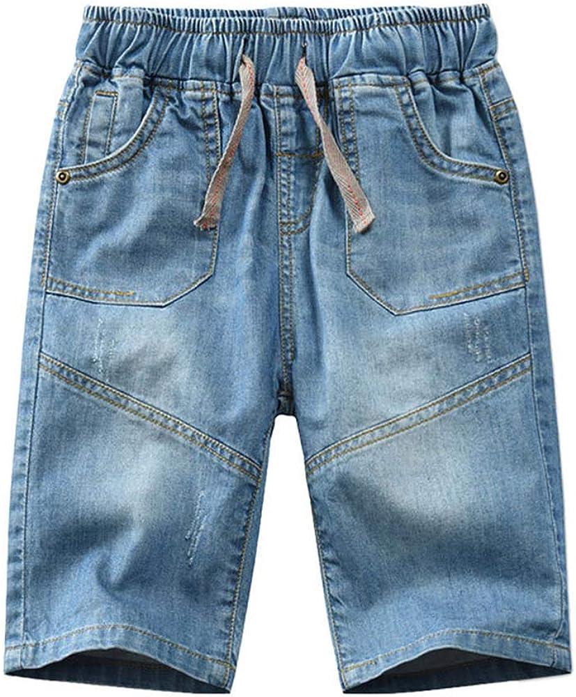SWOTGdoby Boys' Waistband Shorts Denim Blue Ripped Jeans Shorts 3-14