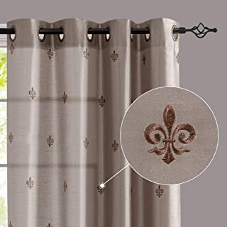 jinchan Faux Silk Flur De Lis Embroidered Grommet Top Curtains for Bedroom 84 inches Long..