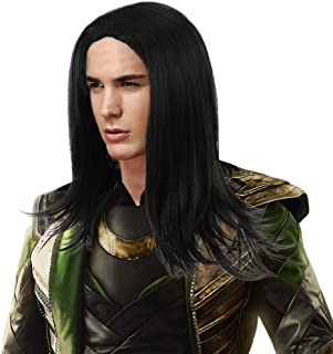 Long Black Cosplay Loki Wig Men Synthetic Full Head Straight Anime Hair Wigs for Party Costume Halloween