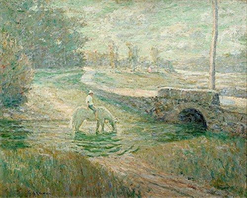 The Museum Outlet – d'arrosage le cheval blanc, Tendue sur toile Galerie enveloppé. 40,6 x 50,8 cm