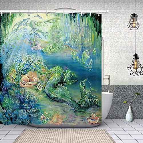 NYMB Fantasy Ocean Animals Shower Curtains, Mermaid Girl in Green Seaside 69X70 inches Polyester Fabric Shower Curtain Set Fantastic Decorations Bath Curtain