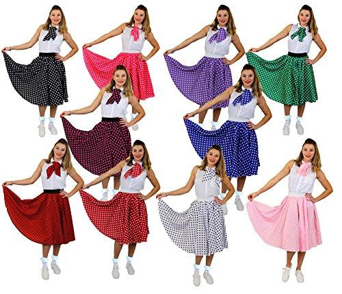 I LOVE FANCY DRESS LTD Polka DOT Rock n ROLL Rock -10 Farben+2 GRÖßEN+2 LÄNGEN=Tanz Fasching Karneval VEREINE Gruppen=SCHWARZ MIT WEIßEN Punkten-STANDART /LANG