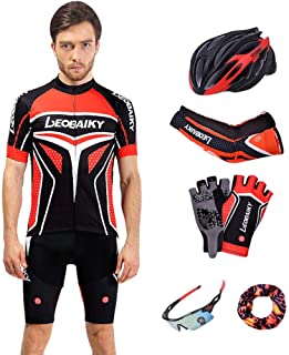 Men's Jersey 7 Piece Set Pro Cycling Jersey Shorts Set Padded Silicone Bike Clothes Men Summer Riding Cycle Clothing Mtb Bicycle Wear Breathable Quick Drying (Color : C, Size : XXL)