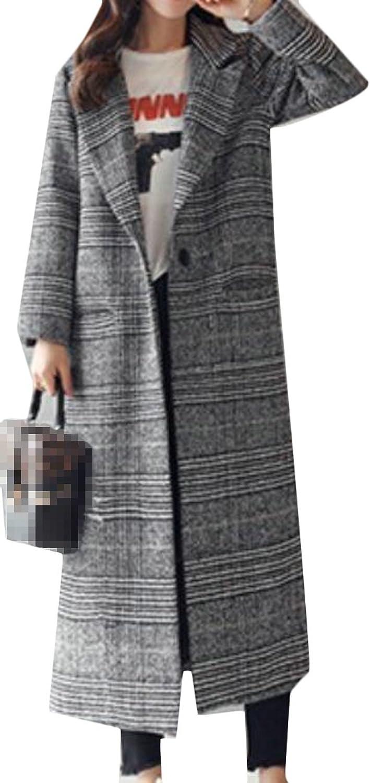 Pandapang Womens Casual Houndstooth WoolBlend Lapel Outwear Long Pea Coats