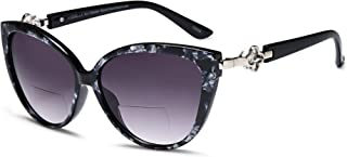 VVDQELLA Women Bifocal Reading Sunglasses Reader Glasses Cateye Diamond Ladies Fashion Reading Glasses