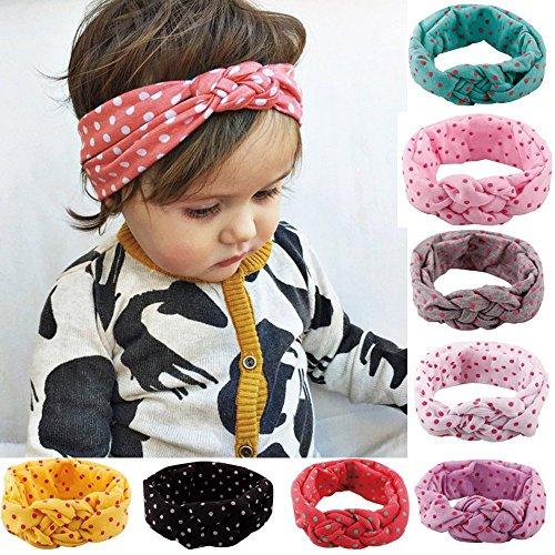 zuoyety 8pieza Niedlich niña algodón Elastic–Cinta del pelo Diadema Lunares Baby cinta (Color al azar)