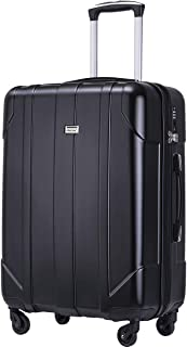 Merax Hardside Spinner Luggage with Built-in TSA Lock Lightweight Suitcase 20inch 24inch and 28 inch Available (Black, 28-inch)