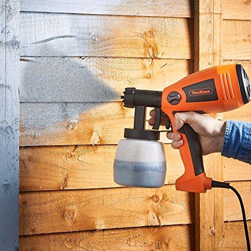 VonHaus Electric Paint Sprayer for Fences, Walls and Ceilings - 400W Motor, Large 800 ml Capacity, 3 Spray Patterns and Fast 700 ml/min Flow Rate – Spray Gun For Interior and Exterior Usage