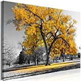 murando - Bilder Baum 120x80 cm Leinwandbild 1 TLG Kunstdruck modern Wandbilder XXL Wanddekoration Design Wand Bild - Bäume Natur Landschaft schwarz weiß gelb c-B-0445-b-c