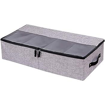 Organizador de zapatos para ropa - 4 compartimentos - Multifunción plegable debajo de la cama caja de almacenamiento con tapa a prueba de polvo, Dark Gray: Amazon.es: Hogar