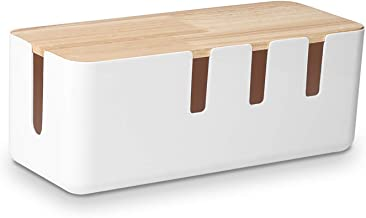 "Cable Management Box by Baskiss, 12""x5""x4.5"", Wood Lid, Cord Organizer for Desk TV Computer USB Hub System to Cover and Hi..."