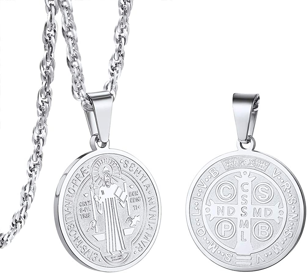 PROSTEEL 100% quality warranty Stainless Steel Saint Medal Necklace Protecti Benedict At the price of surprise