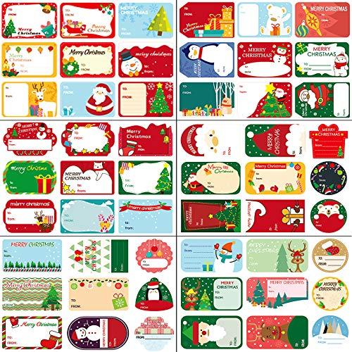 Étiquette Cadeau Noël,24 Feuilles D'autocollants D'étiquettes de Noël, 216 Pièces D'étiquettes-Cadeaux Autocollants Etiquettes Auto-Adhésives de Noël Etiquettes pour Décorations D'artisanat