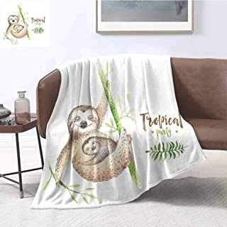 Luoiaax Sloth Comfortable Large Blanket Mother and Baby Animals Family Happiness Watercolor Boho Tropical Elements Microfiber Blanket Bed Sofa or Travel W55 x L55 Inch Light Brown Green