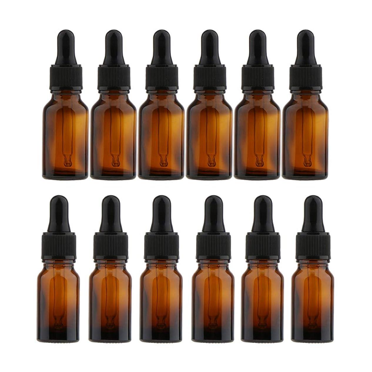 三角寓話対応FLAMEER ガラス瓶 空ボトル 液体容器 ドロッパー 小分け容器 化粧品 香水 精油 携带用 10ml/15ml 12個入