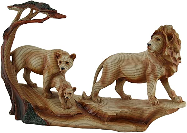 Zeckos African Lion Family Carved Wood Look Resin Statue