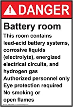 Danger Battery Room ANSI Safety Label Decal, 5x3.5 in. Vinyl 4-Pack for Process Hazards Restricted Access PPE Hazmat by ComplianceSigns