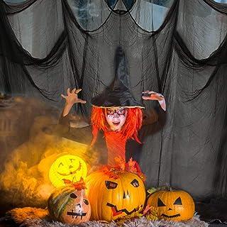 RMENOOR Halloween Décoration Tissu Effrayant Gaze Noire Effrayante 5x2.15m Gaze Halloween chiffon effrayant décoration hal...