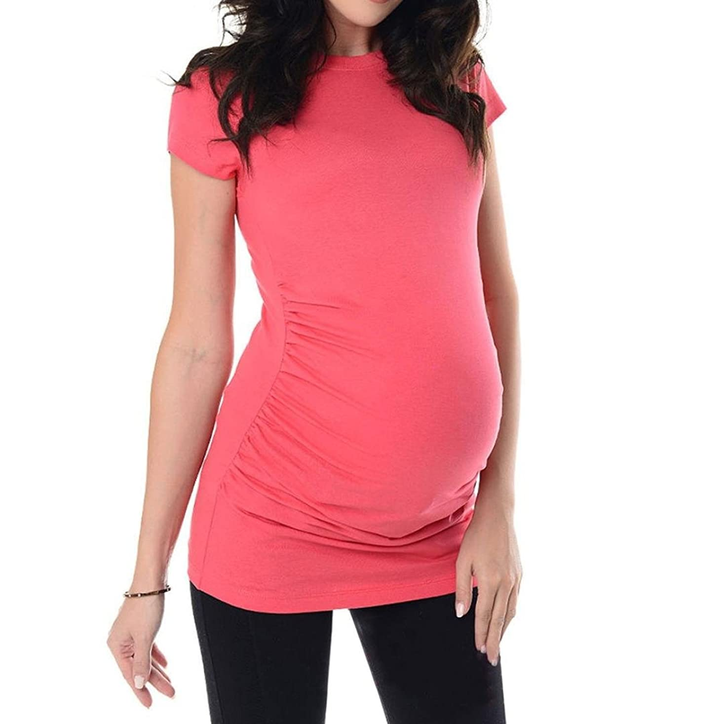 失デンマーク見かけ上SakuraBest Pregnant Women's Summer Short Sleeves Maternity Solid Long T Shirt