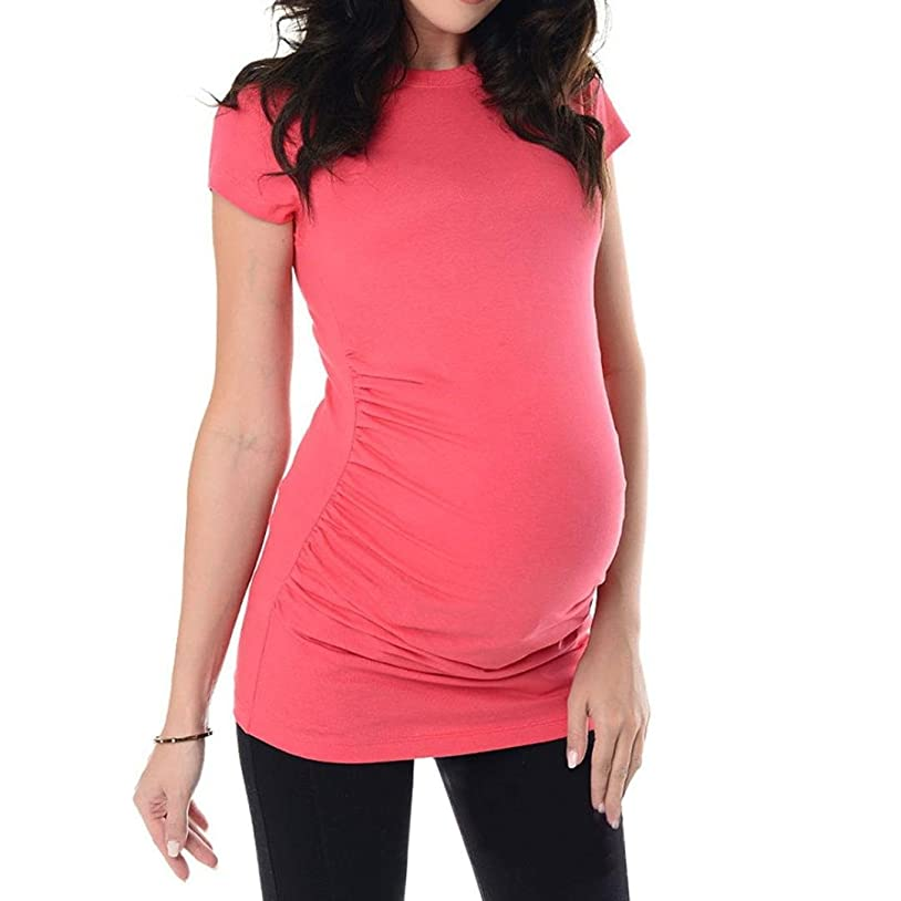 ランチョン明確なイルSakuraBest Pregnant Women's Summer Short Sleeves Maternity Solid Long T Shirt
