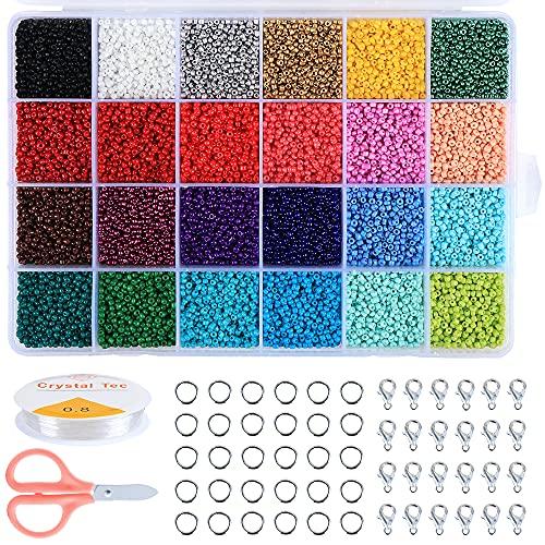 HonGien 24000 cuentas de cristal de 2 mm mini caja de joyería de material de cuentas de punto de cruz para hacer joyas, manualidades de arte DIY decoración, juego de hacer cuerdas, 24 colores