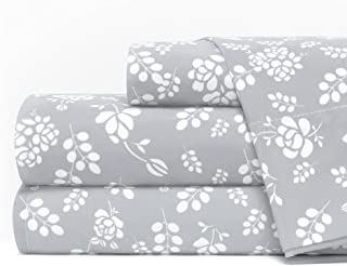 Egyptian Luxury 1600 Series Hotel Collection Basic Floral Pattern Bed Sheet Set - Deep Pockets, Wrinkle and Fade Resistant, Hypoallergenic Sheet and Pillowcase Set - Queen - Light Gray/White