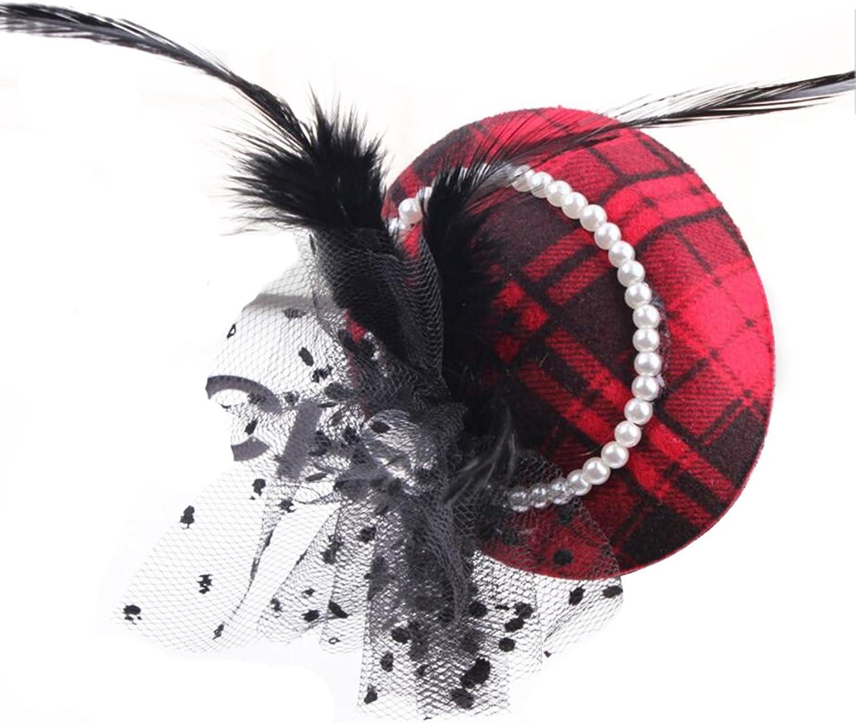 AIEDE Women Lady Girls Feather Net Veil Fascinator Hair Clip Hat Hair Accessories Clip