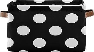 PUXUQU Panier de rangement pliable à pois blancs avec poignées pour placard, étagères, jouets, bureau, chambre à coucher