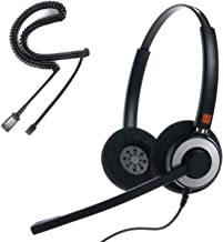 IPD IPH-165 Binaural Noise Cancelling, Corded Headset for Call Center,Office and Landline Phones w U10P Bottom Cable w RJ9 Jack Works with Poycom VVX,Avaya,Nortel, Mitel and Most IP Phones