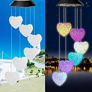 Yooda Solar Wind Chime Spiral Spinner Heart Shaped LED Color Changing Wind Mobile Portable Waterproof Outdoor Decorative Romantic Wind Bell Light for Patio Yard Garden Home