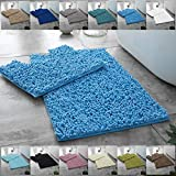 Comfort Collections 2Pcs Luxury CHUNKY LOOP BATH MAT SET Non Slip and Absorbable 100% Microfibre Chenille Washable Pedestal Mat and Bath Mat Bathroom Rug COLOR: Loop Bath Mat Turquoise