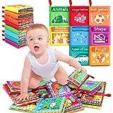 RenFox 8 Stücke Stoffbuch für Babys, Baby Soft Bilderbuch Tuchbuch Badebuch Babybuch Stoffbuch Baby Spielzeug Pädagogisches Spielzeug Geschenk für Kleinkinder Kinder