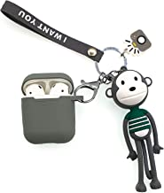 AirPods 2/1 Protective Silicone Skin & Cover Anti-loss Airpod Case Drop Proof Replacement for Apple Headphone Charging Case 2/1 with Cute Cartoon keychains Grey Relieve Stress & Relax Long Legs Monkey