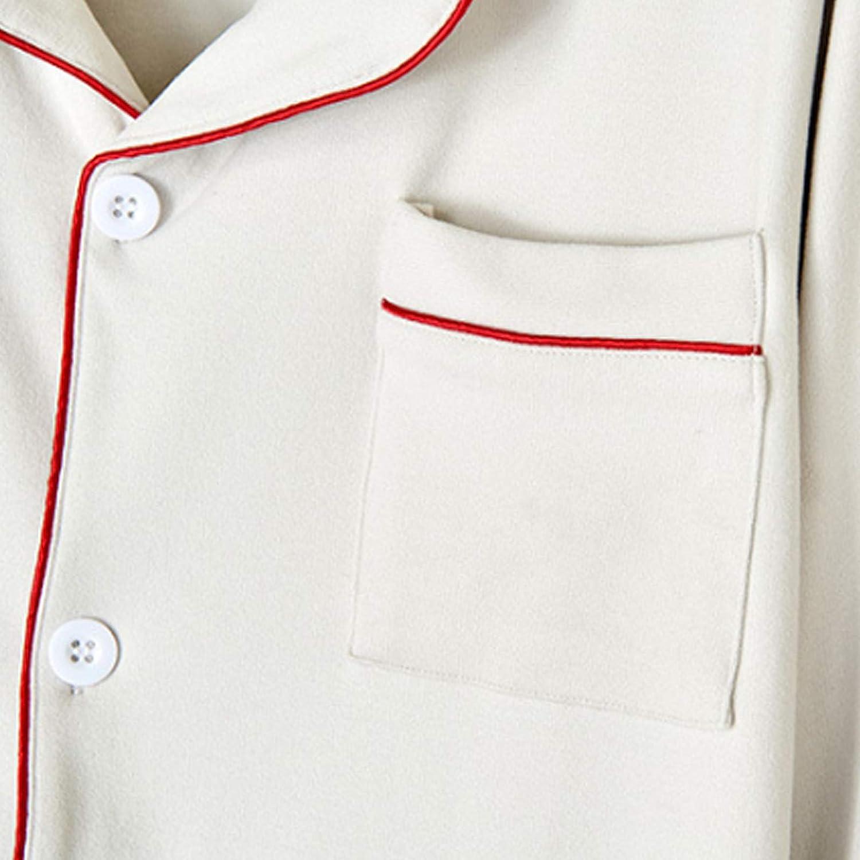 Men's Pajamas Set Long Sleeve Pajama Sleepwear white L