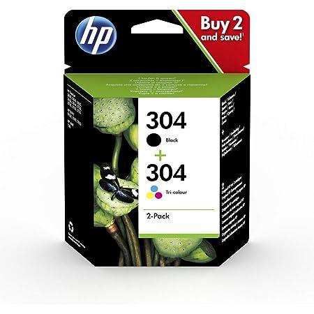HP 304 Pack de 2 Cartouches d'Encre Noire et Trois Couleurs Authentiques (3JB05AE)