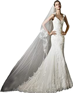 2 Tiers Soft French lace wedding veils Flowers Ivory Cathedral Bridal Veil With Comb 262 - coolthings.us