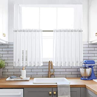 XWTEX Kitchen Tiers Curtains for Bedroom Linen Textured Semi Sheer Window Curtain Panels Cafe Curtains, Pole Top, 2 Panels, 24