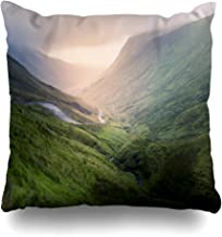 Ahawoso Throw Pillow Cover Hill Green Irish Valley Magnificent Sunlight Nature Ireland Parks Country Mountain Scenery Sky Design Zippered Pillowcase Square Size 18x18 Inches Home Decor Pillow Case