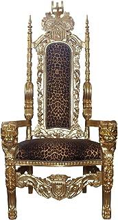 Casa Padrino Sillón Trono Barroco Silla Real Dorado/Leopardo - Silla de Boda - Sillón Gigante