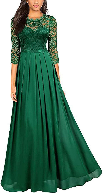 Limsea Bridesmaid Dress Lace Slim Maxi Dress - Women's Chiffon Embroidery Evening Dress Elegant Party Dress