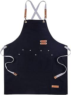 Tongliang Delantal de lona con bolsillo ajustable con bolsillo, delantal de cocina, delantal de cocina unisex para cocinar...
