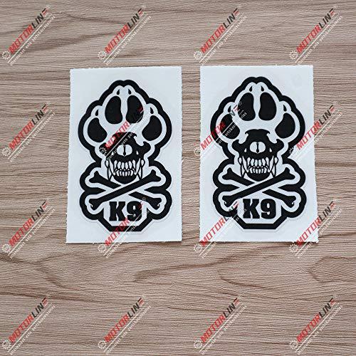 2X Reflective 4'' K9 K-9 Police Dog Unit Skull Bone Decal Sticker Car Vinyl