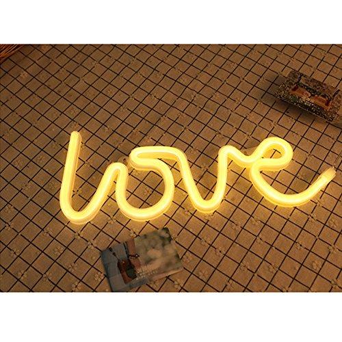LED-Neonschild, batteriebetrieben, USB-betrieben, Nachtlicht für Schlafzimmer, als Wanddekoration oder für Partys, Urlaub, Hochzeit, Valentinstag Gelbe Liebe