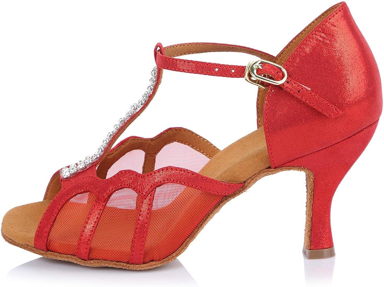 Roymall Women's Satin Latin Dance shoes with Rhinestone Ballroom Salsa Tango Performance shoes,Model AF453