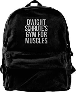 Simonay Dwight-Schrute's-Gym-Muscles Backpack, Fashion Canvas Backpack, Durable All-Purpose Shoulder Bag.